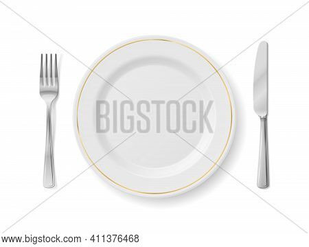 White Plate With Fork And Knife, Top View. Empty Dinner Plate With Cutlery Set Isolated On White Bac