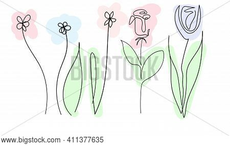 Set Of Beautiful Spring Flowers On White Background, One Continuous Line, Black Contour Art Colored