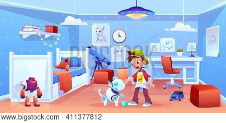 Dog Robot And Boy Playing At Home. Happy Child And Robotics Pet Characters Having Fun In Kids Room.