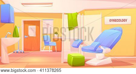Gynecology Doctor Office. Patient Examination Room With Gynecological Chair And Folding Screen. Cabi