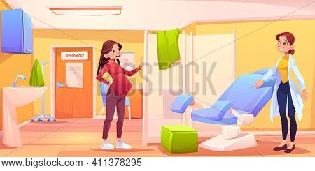 Pregnant Woman In Gynecology Office. Doctor Invite Patient In Examination Room With Gynecological Ch