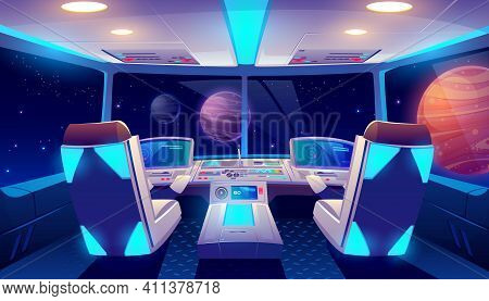 Spaceship Cockpit Interior With Space And Planets View, Rocket Cabin With Control Panel, Neon Glowin