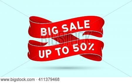 Big Sale Up To 50 Percent. Red Vintage Ribbon With Text Big Sale Up To 50 Percent. Red Vintage Banne
