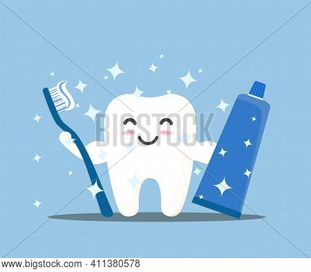Tooth Cleaning. Happy Smiling Tooth Character. Brushing With Toothbrush And Toothpaste. Vector, Illu