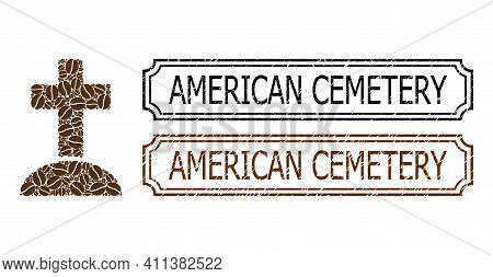 Collage Cemetery Constructed From Cocoa Grain, And Grunge American Cemetery Rectangle Badges With No