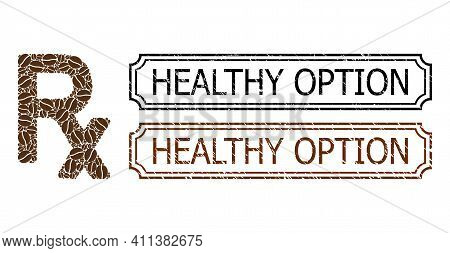 Collage Rx Symbol Composed Of Cocoa Grain, And Grunge Healthy Option Rectangle Seal Stamps With Notc