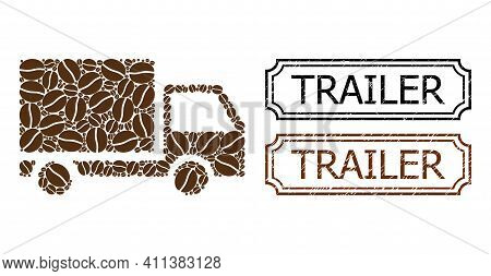 Mosaic Delivery Lorry Composed Of Cacao Grain, And Grunge Trailer Rectangle Stamps With Notches. Vec