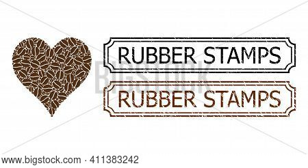 Collage Hearts Suit Composed Of Coffee Beans, And Grunge Rubber Stamps Rectangle Badges With Notches