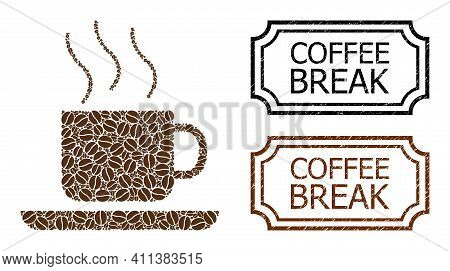 Collage Coffee-break Designed From Cacao Seeds, And Grunge Coffee Break Rectangle Seals With Notches