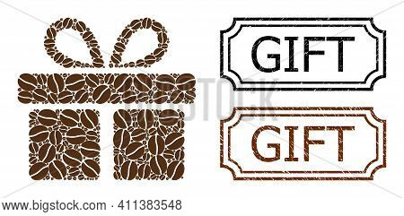 Collage Gift Composed Of Cacao Grain, And Grunge Gift Rectangle Seals With Notches. Vector Coffee Ic