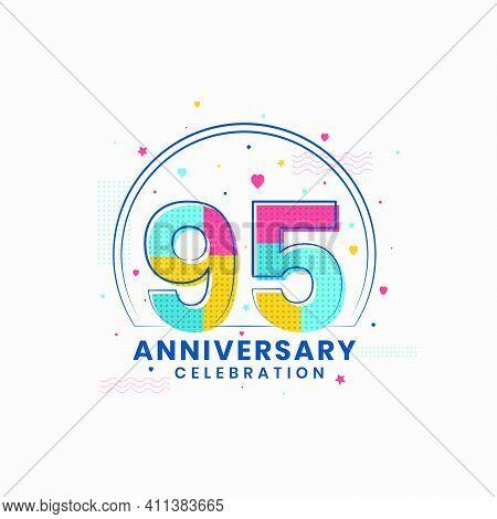 95 Anniversary Celebration, Modern 95th Anniversary Design Vector Illustrator