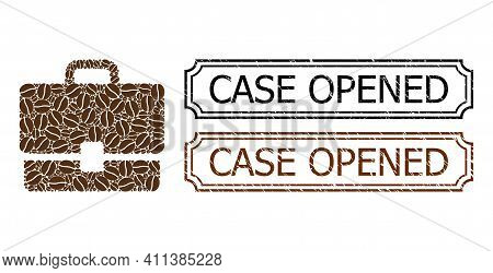 Collage Case Composed Of Cocoa Beans, And Grunge Case Opened Rectangle Stamps With Notches. Vector C