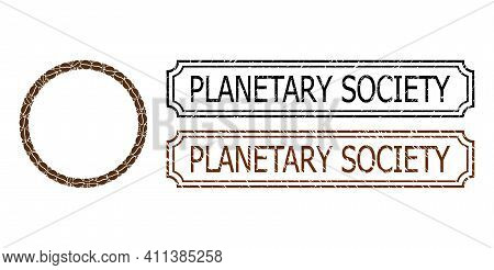 Mosaic Circle Bubble United From Coffee Seeds, And Grunge Planetary Society Rectangle Stamps With No