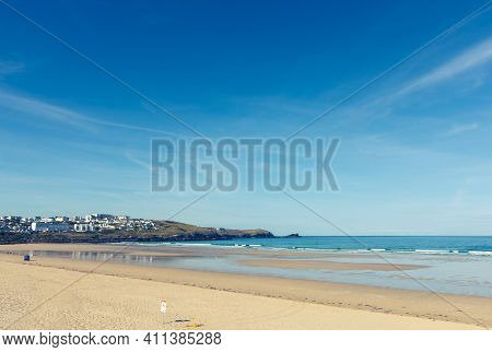 Beach Of Marazion, An Ancient Market Town In Cornwall, England. Marazion Beach Is About A Mile Long,