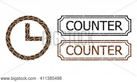 Mosaic Clock Composed Of Coffee Grain, And Grunge Counter Rectangle Seals With Notches. Vector Coffe