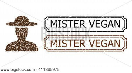 Collage Farmer Person United From Cacao Beans, And Grunge Mister Vegan Rectangle Badges With Notches