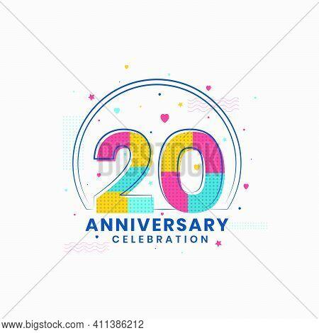 20 Anniversary Celebration, Modern 20th Anniversary Design Vector Illustrator