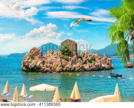 Picturesque Summer View Of Adriatic Seacoast In Budva Riviera. Przno
