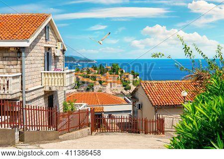 Street In The Small Resort Town Of Sveti Stefan