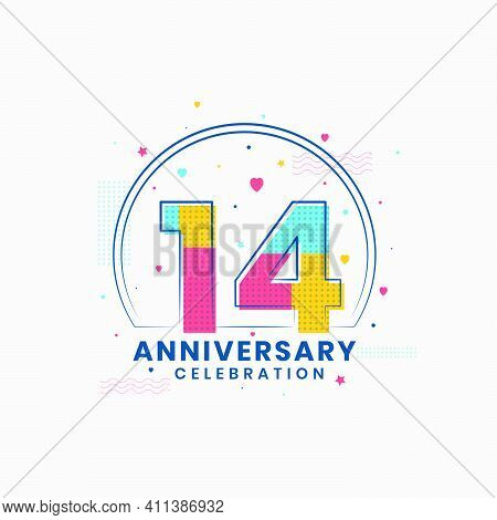 14 Anniversary Celebration, Modern 14th Anniversary Design Vector Illustrator