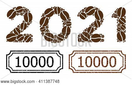 Mosaic 2021 Digits Text Organized From Cacao Beans, And Grunge 10000 Rectangle Stamps With Notches.