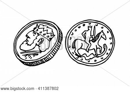 Medieval Ancient Coin With King Profile, Obverse And Reverse, Numismatic Hobby, Vector Illustration