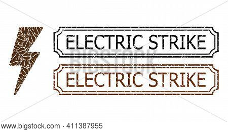 Collage Electric Strike United From Coffee Seeds, And Grunge Electric Strike Rectangle Seal Stamps W