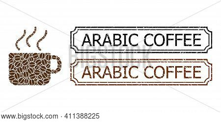 Collage Coffee Composed Of Coffee Seeds, And Grunge Arabic Coffee Rectangle Badges With Notches. Vec
