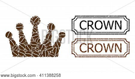Collage Crown Constructed From Coffee Beans, And Grunge Crown Rectangle Seal Stamps With Notches. Ve