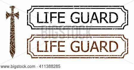 Mosaic Medieval Sword Constructed From Cocoa Grain, And Grunge Life Guard Rectangle Stamps With Notc