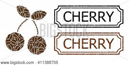 Collage Cherry Constructed From Cacao Grain, And Grunge Cherry Rectangle Stamps With Notches. Vector