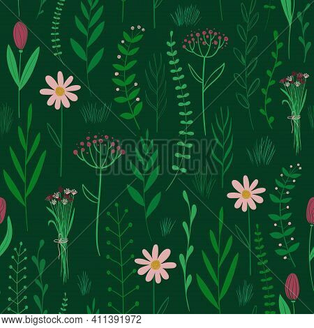 Bold Floral Seamless Pattern. Rustic Wildflowers Wallpaper On A Deep Green Background.