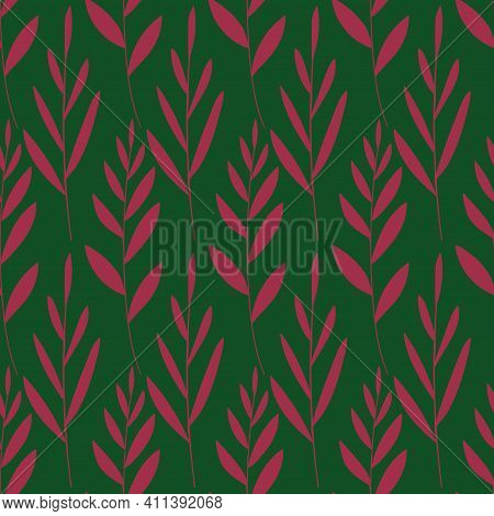 Foral Seamless Pattern. Simple Rustic Wallpaper With Pink Leaves On A Green Background.