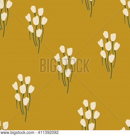 Floral Seamless Pattern. Rustic Wildflowers Wallpaper On A Deep Yellow Background.