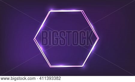Neon Double Hexagon Frame With Shining Effects On Dark Background. Empty Glowing Techno Backdrop. Ve