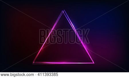 Neon Double Triangular Frame With Shining Effects On Dark Background. Empty Glowing Techno Backdrop.