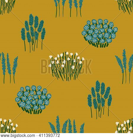 Lovely Floral Seamless Pattern. Rustic Wildflowers Wallpaper On A Deep Yellow Background.