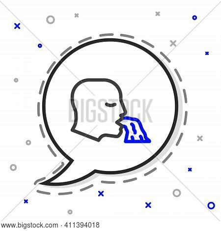 Line Vomiting Man Icon Isolated On White Background. Symptom Of Disease, Problem With Health. Nausea