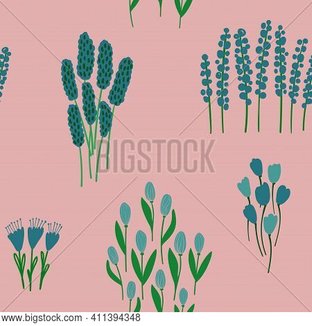 Lovely Floral Seamless Pattern. Rustic Wildflowers Wallpaper On A Pink Background.
