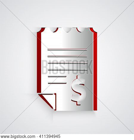 Paper Cut Paper Or Financial Check Icon Isolated On Grey Background. Paper Print Check, Shop Receipt