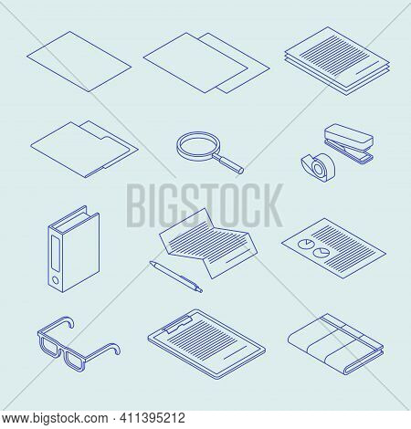 Vector Isometric Linear Document Icons. Set Of Paperwork Related Icons - Paper, Contract, File, Magn