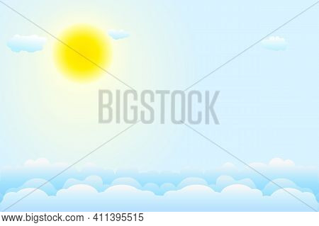 Blue Sky Background With White Clouds And Sun. Day And Summer. Clear Weather. Backdrop For Good Weat