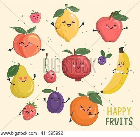 Big Set Of Funny Cheerful, Friendly Fruits And Berries Comic Characters.sweet Kawaii Smiling Summer