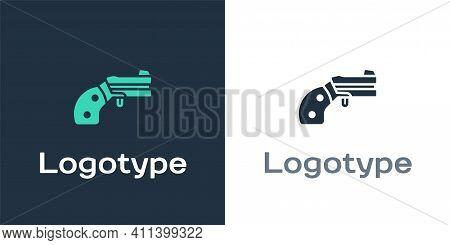 Logotype Small Gun Revolver Icon Isolated On White Background. Pocket Pistol For Self-defense. Ladie