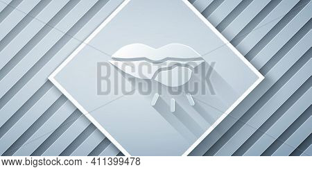 Paper Cut Herpes Lip Icon Isolated On Grey Background. Herpes Simplex Virus. Labial Infection Inflam