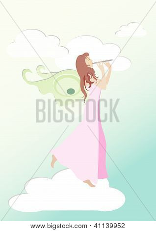 Fairy playing flute on the cloud