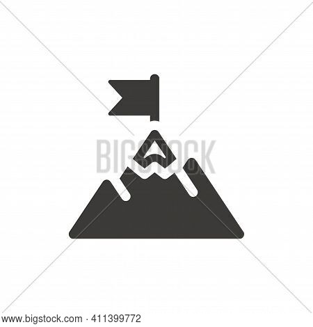 Mountain Peak With Flag Black Vector Icon. Business Success, Achievement And Goals Symbol.