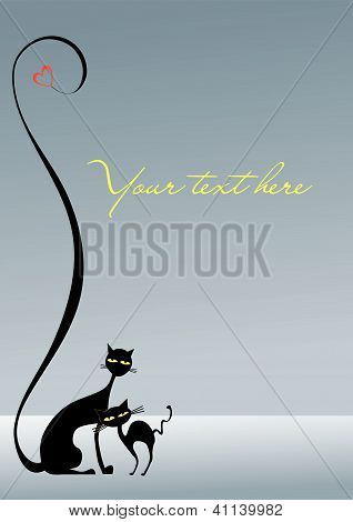 Two loving black cats on the gray background plus heart, decorative