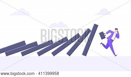 Domino Effect Or Business Cowardice Metaphor Vector Illustration. Adult Young Businesswoman Run Away