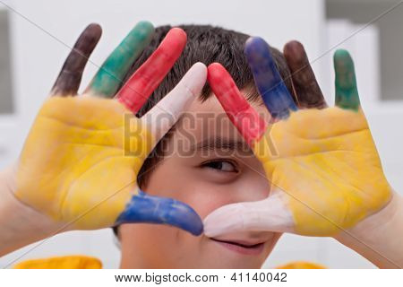 Boy With Colored Hands